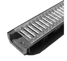 Водосточный лоток пластиковый DN 100 H 63 в комплекте с оцинкованной решеткой, А 15