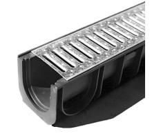 Водосточный лоток пластиковый DN 100 H 185 в комплекте с оцинкованной решеткой, А 15
