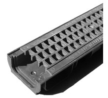 Водосточный лоток пластиковый DN 100 H 80 в комплекте с пластиковой решеткой, А 15