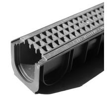 Водосточный лоток пластиковый DN 100 H 100 в комплекте с пластиковой решеткой, А 15
