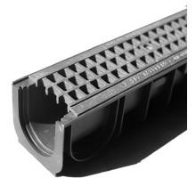 Водосточный лоток пластиковый DN 100 H 135 в комплекте с пластиковой решеткой, А 15