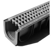 Водосточный лоток пластиковый DN 100 H 185 в комплекте с пластиковой решеткой, А 15