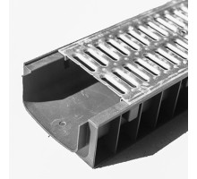 Водосточный лоток пластиковый DN 150 H 100 в комплекте с оцинкованной решеткой, А 15