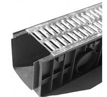 Водосточный лоток пластиковый DN 150 H 180 в комплекте с оцинкованной решеткой, А 15