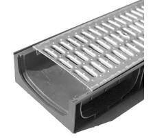 Водосточный лоток пластиковый DN 200 H 100 в комплекте с оцинкованной решеткой, А 15