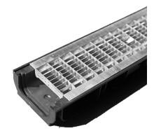 Водосточный лоток пластиковый DN 100 H 63 в комплекте с оцинкованной решеткой, B 125