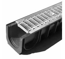 Водосточный лоток пластиковый DN 100 H 100 в комплекте с оцинкованной решеткой, B 125